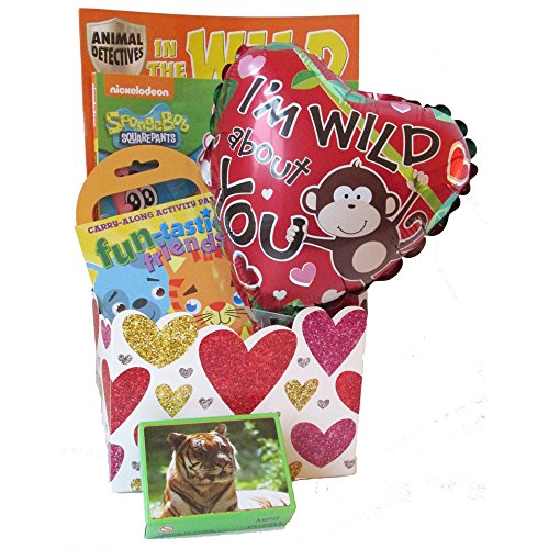 Wild About You Kids Valentine's Day Gift Basket for Boy and Girls Ages 3 to 8 by Gifts Fulfilled