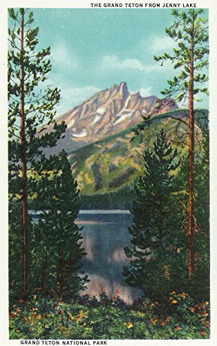 Grand Teton National Park, Wyoming - Grand Teton from Jenny Lake - Vintage Halftone (16x24 Giclee Gallery Print, Wall Decor Travel Poster) - Grand Lake Jenny