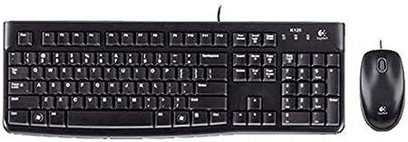 Logitech MK120 Combo Teclado y Ratón con Cable para Windows, Disposición QWERTY Italiano, Negro