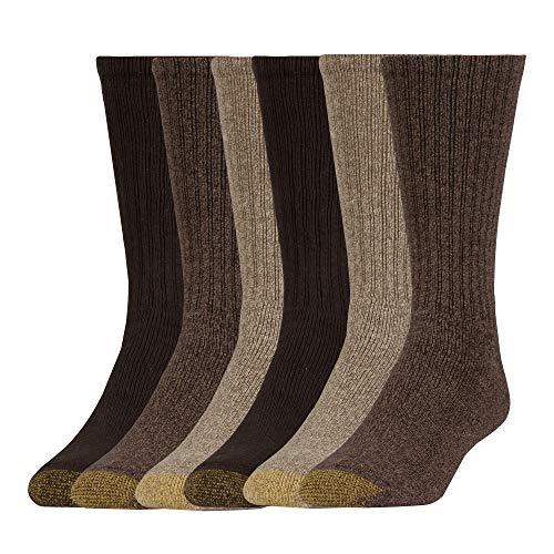 Gold Toe Harrington Crew 6 Pack Extended, Taupe Marl/Khaki Marl/Brown, Shoe Size: Mens 12-16