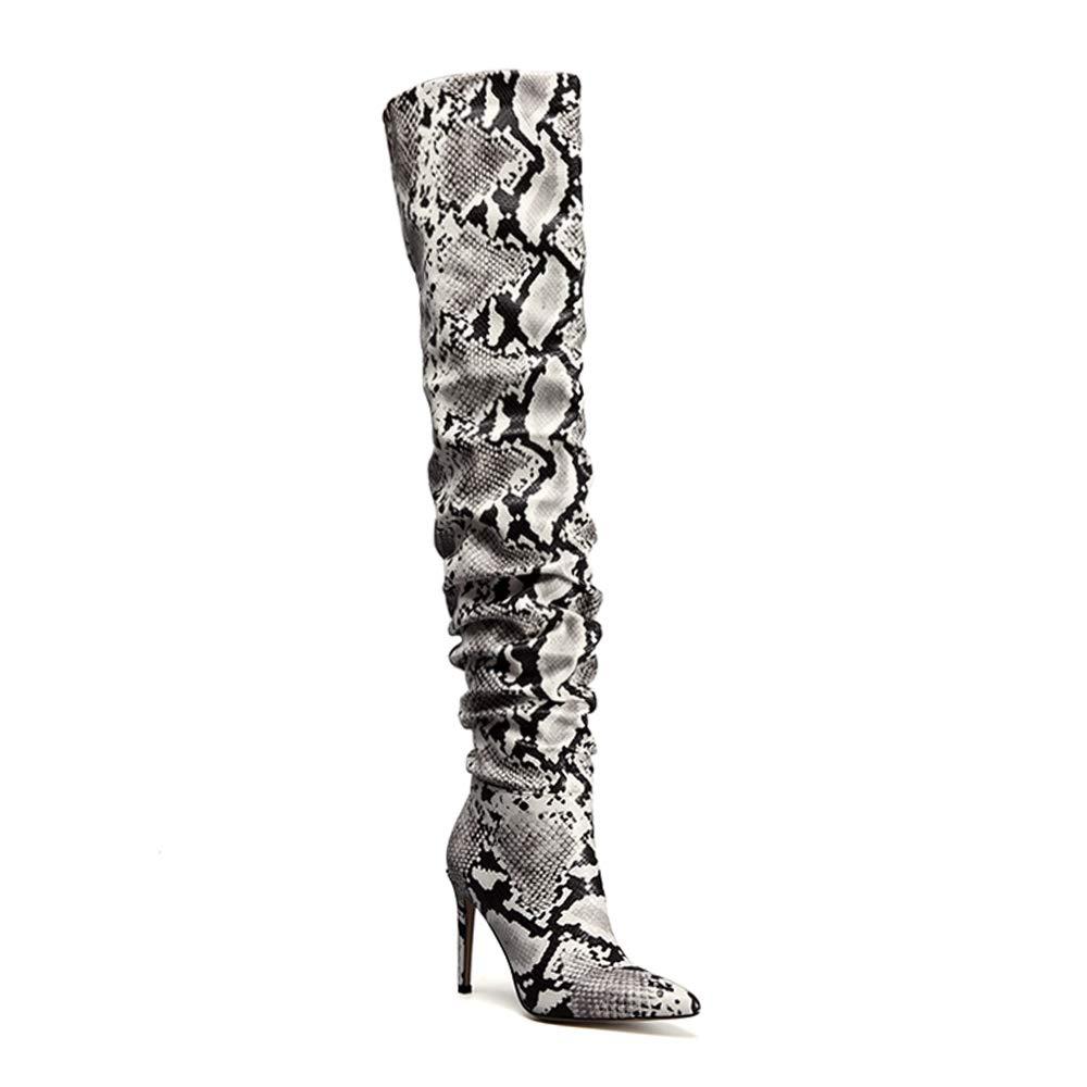 5ec45710ba0 Amazon.com   OLCHEE Women's Thigh High Boots Stiletto High Heel Side ...