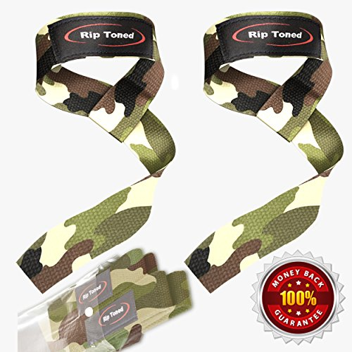 Rip Toned Cotton Padded Lifting Wrist Straps (Pair) with Ebook - Green Camo