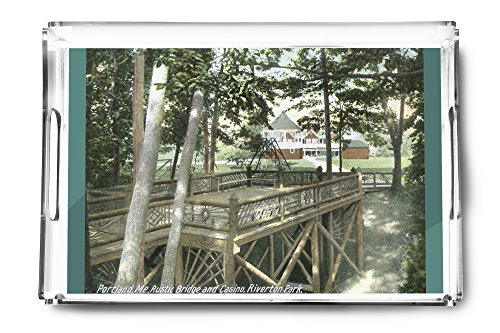 Portland, Maine - Riverton Park View of a Rustic Bridge and the Casino (Acrylic Serving Tray)