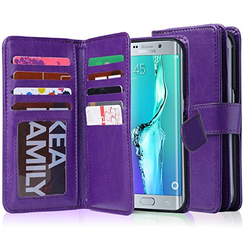 Galaxy S6 Edge Plus Case, Jwest S6 Edge+ Wallet Case, Premium PU Leather Magnetic Wallet Credit Card ID Holder Flip Cover Case 9 Card Slots Wrist Strap Case for Samsung Galaxy S6 Edge Plus Purple