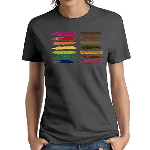 (Jac Jie Women's Cotton Short-Sleeved T-Shirt New Original Design Painted Logo DeepHeather L)