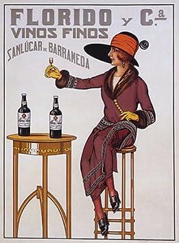 Amazon.com: Póster retro de mujer con diseño de florido vino ...