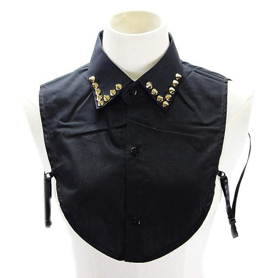 BASSK - Camisa de mujer estilo punk con cuello desmontable de ...