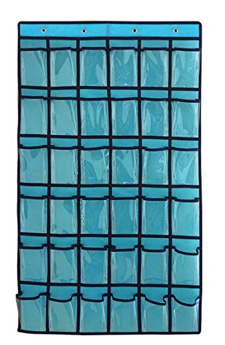 NIMES Hanging Closet Underwear Sock Jewelry Storage Over The Door Classroom Cell Phone Calculator Organizer 36 Clear Pockets (Blue)