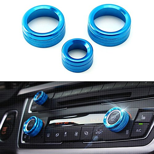 iJDMTOY 3pcs Blue Anodized Aluminum AC Climate Control and Radio Volume Knob Ring Covers For BMW 1 2 3 3GT 4 Series (F20 F22 F30 F31 F32 F33 F80 F82 F87)