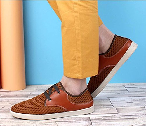 Bebete5858 uomo on estate estive morbido moda Lace da scarpe uomo vera marchio casual in Up Giallo pelle scarpe mesh slip confortevole scarpe traspirante rrA7Xw