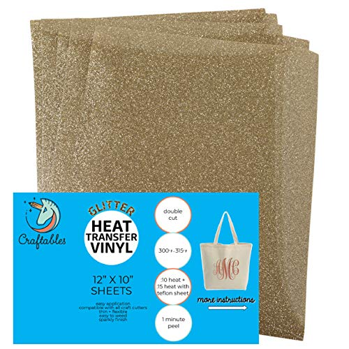 Craftables Light Gold Glitter Heat Transfer Vinyl, HTV - 5 Sheets Sparkling Easy to Weed Tshirt Iron on Vinyl for Silhouette Cameo, Cricut, All Craft Cutters. Ships Flat, Guaranteed Size ()
