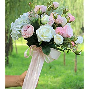 ELEGENCE-Z Wedding Flower, Bridal Bouquets, Artificial Rose Flowers 4 Bouquets with 48 Flower Heads Fake Flower Bouquet 1