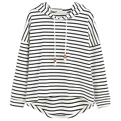 Litetao Stripe Hooded Sweatshirt, Women Plus Size Long Sleeve Jumper Pullover Tops