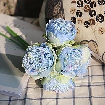 per bouquet da sposa o decorazione da tavolo 5 fiori soggiorno ufficio giardino Blue Felice arts bouquet di peonie artificiali in seta casa