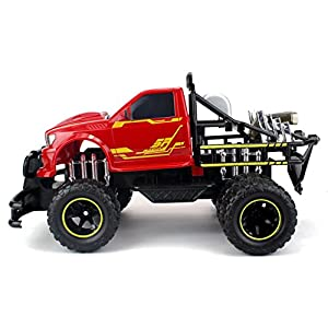 Jungle Fire TG-4 Dually Rechargeable RC Monster Truck Big 1:12 Scale RTR w/ Working Headlights, Dual Rear Wheels (Colors May Vary)