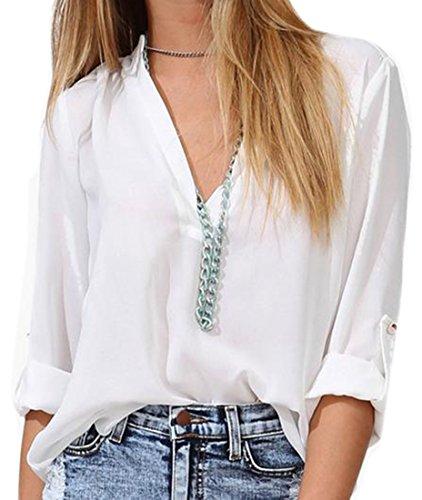 he-women-blouse-casual-v-neck-roll-up-sleeve-chiffon-t-shirts-white-m