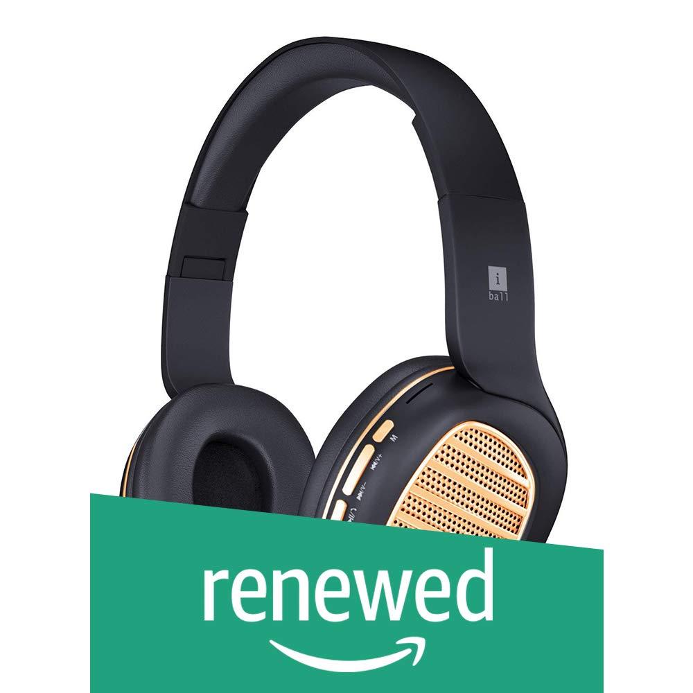 (Renewed) iBall Decibel BT01 Smart Headset with Alexa Enabled (Black and Gold)
