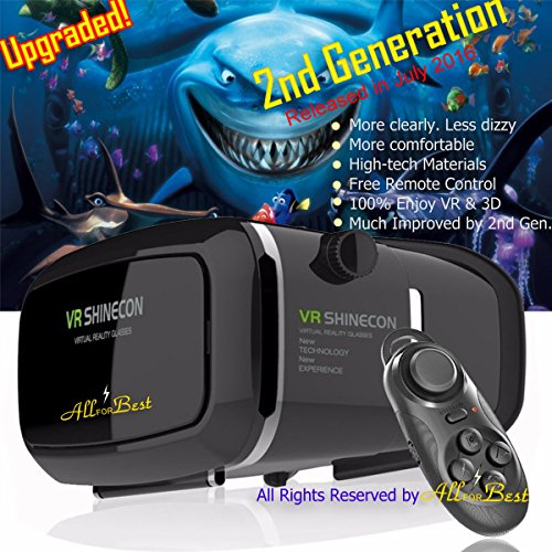 """AllForBest® New Generation VR Headset Glasses Virtual Reality 3D for iPhone 6s/6 plus/6/5s/5c/5/4s/4 Samsung Galaxy s5/s6/note4/note5 and 3.5""""-6.0"""" phones + Remote Control"""