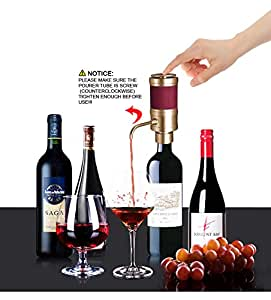 2 in 1 Electric Wine Aerator and Electric Wine Dispenser, Konsait Wine Aerator Set Battery Operated for Wine and Spirit with Wine Aerator Pourer Tube and Travel Pouch Bag ( Gold )