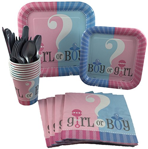 Unique Industries Gender Reveal Baby Shower Party Supplies Pack Including Cake & Lunch Plates, Cutlery, Cups & Napkins for 8 Guests -