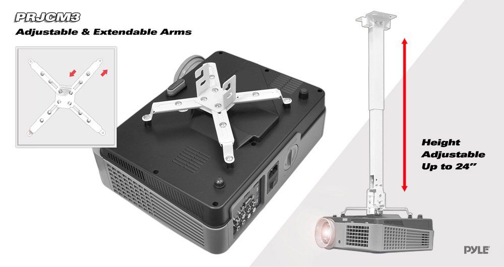 Universal Projector Ceiling Mount Kit - Full Motion Mount Bracket with Telescoping Height and Angle Adjustment, Extendable Arms Rotating Swivel Kit for Home and Office - Pylehome PRJCM3 by Pyle