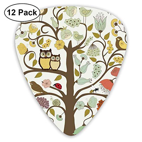 Celluloid Guitar Picks - 12 Pack,Abstract Art Colorful Designs,Stylized Tree Doodle With Whirling Branches Flowers Roses Flourishing Owls Birds Bee,For Bass Electric & Acoustic Guitars.