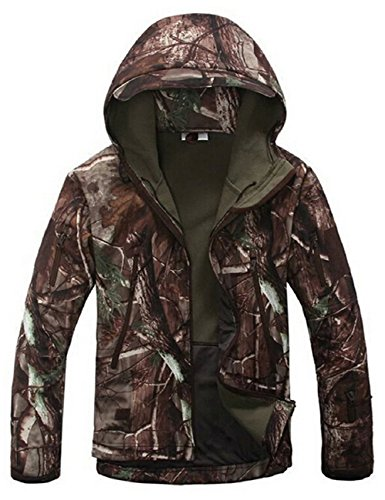 Men's Tactical Soft Shell Jacket Hooded Military Army Outdoor Hunting Coat Waterproof