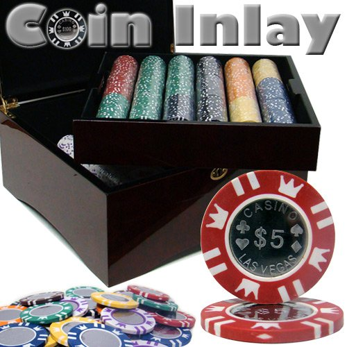 750 Ct Coin Inlay Poker Chip Set w/ Mahogany Case 15 Gram Chips by - Chip Inlay Coin