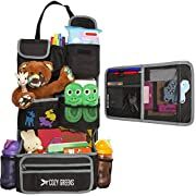 Car Organizer for Back Seat | Eco-Friendly & Strong | Kick Mat Protects Backseat | FREE Visor Organizer | Storage for Toys, Travel Accessories, Tablet | Baby Shower Gift Box (Grey and Black)
