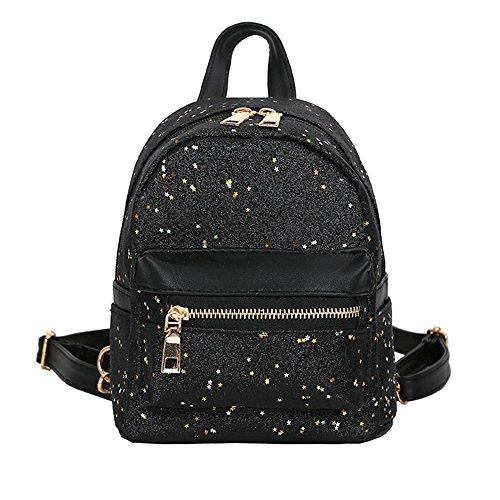 Ranoff Girl Backpack Sequins Leather School Bag Backpack Satchel Women Trave Shoulder Bag Knapsack Field Pack (Black)