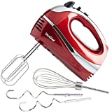 VonShef Electric Hand Mixer Whisk With Stainless Steel Attachments, 5-Speed and Turbo Button, Includes; Beaters, Dough Hooks and Balloon Whisk – Red
