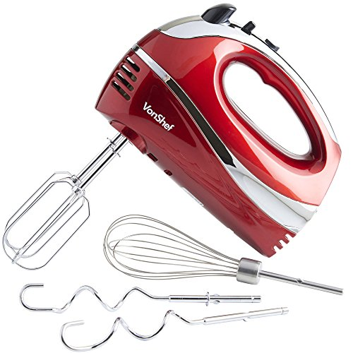 VonShef Electric Hand Mixer Whisk With Stainless Steel Attachments, 5-Speed and Turbo Button, Includes; Beaters, Dough Hooks and Balloon Whisk - Red (Best Potato Gun Design)