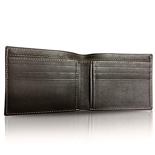 (GOLDFIX Genuine Leather & Hand-Stitched Men's Wallet in Brown. 100% Cow Leather, Super Soft, Slim, Bifold Classic Style Wallet. Best Gift this)