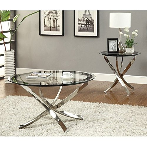 Coaster Home Furnishings  Modern Contemporary Round Clear Tempered Glass End Table - Chrome (Chrome Coasters)