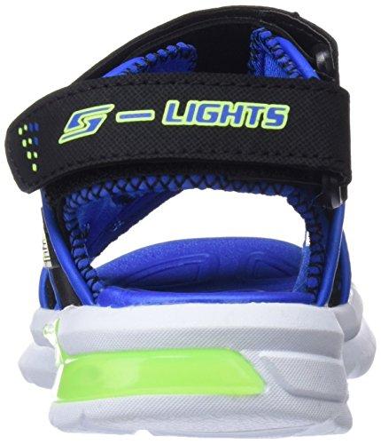 Skechers E-II, Sandalias de Punta Descubierta Para Niños Negro (Black/blue/lime)