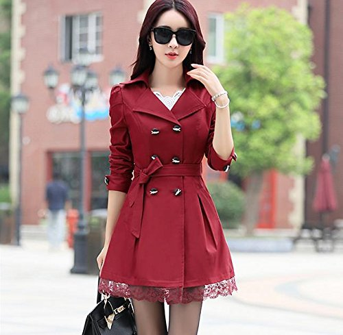 Lingswallow Women's Elegant Double Breasted Lace Hem Trench Coat Jacket Red by Lingswallow (Image #3)