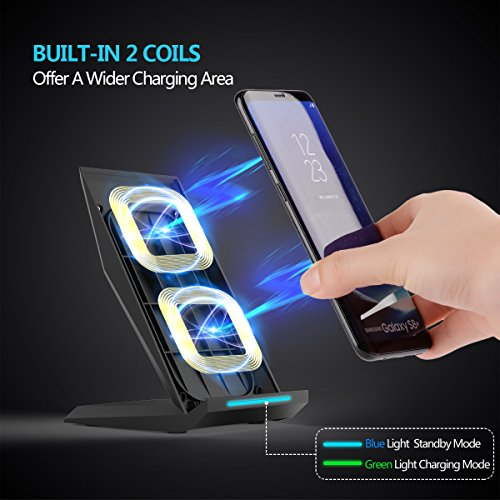 Fast Wireless Charger, NANAMI Qi Certified Charger Wireless Charging Stand for Samsung Note8, iPhone 8/8 Plus, iPhone X, Galaxy S9 S9 Plus S8 S8+ S7 S7 Edge Note 5 S6 Edge+ and All Qi-Enabled Devices by NANAMI (Image #1)