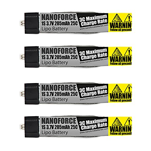 205mAh 25C 3.7V - Fight Time and Power Battery Upgrade - Fits All: Blade Nano QX, QX FPV, Tiny Whoop,UMX Radian, Blade Inductrix, Champ, Sport Cub S (Pack of 4)
