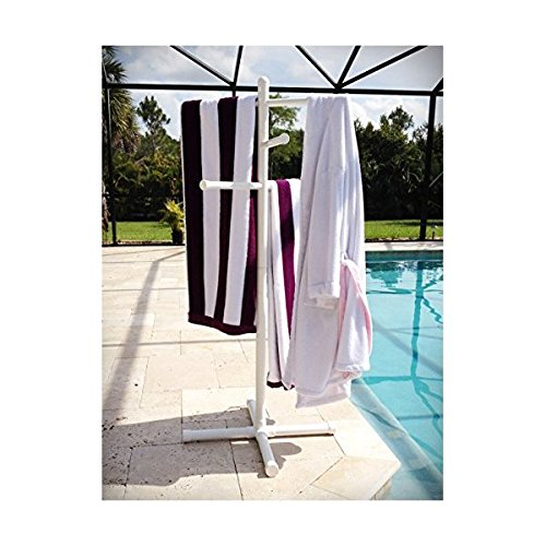 (Pool & Spa Towel Rack Premium Extra Tall Towel Tree Outdoor PVC White)