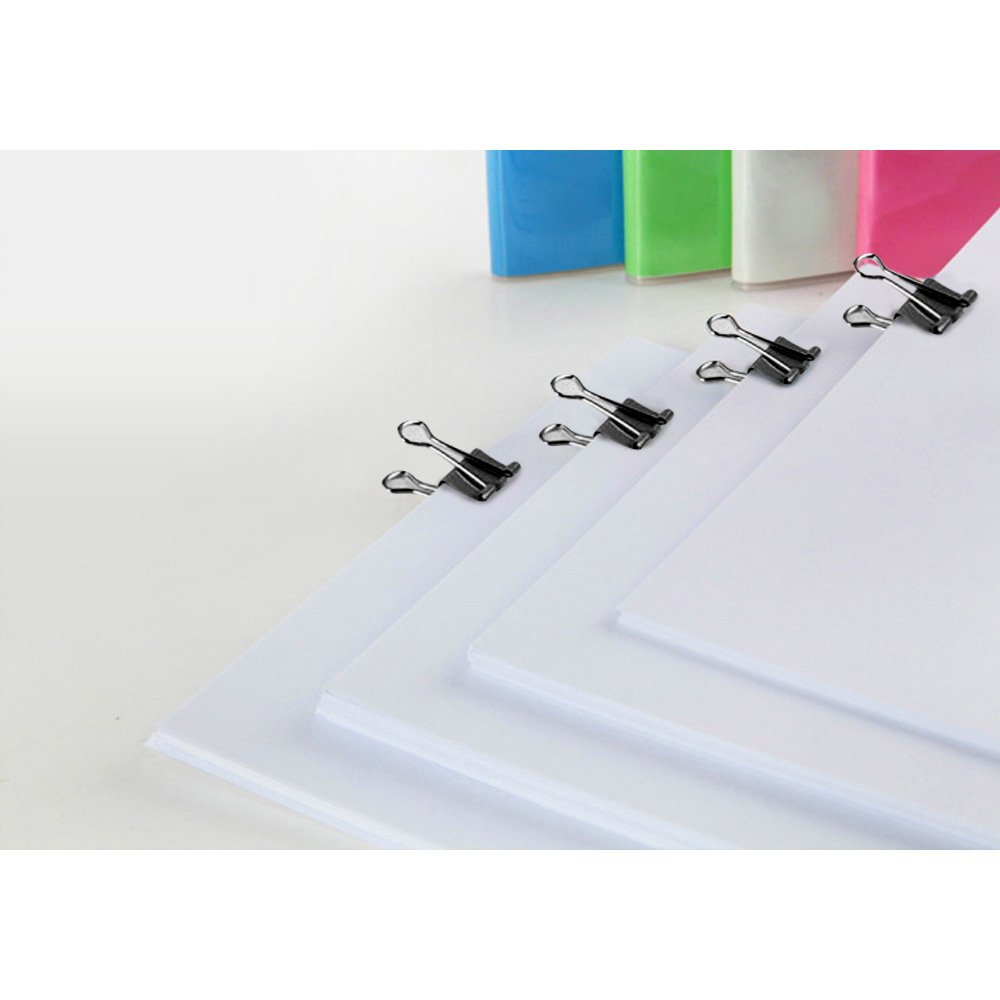 Office Organize Foldback Binder Clips//Klemmer for Closing Plastic Bags 19//25//32mm Black Metal Office Paper Clamps Securing Documents Zacro 60pcs Office Paper Clamps