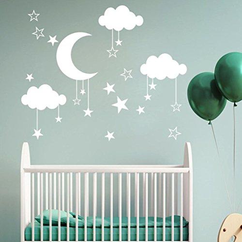 Pbof Wall Stickers, Moon And Stars Night Sky Vinyl Wall Art