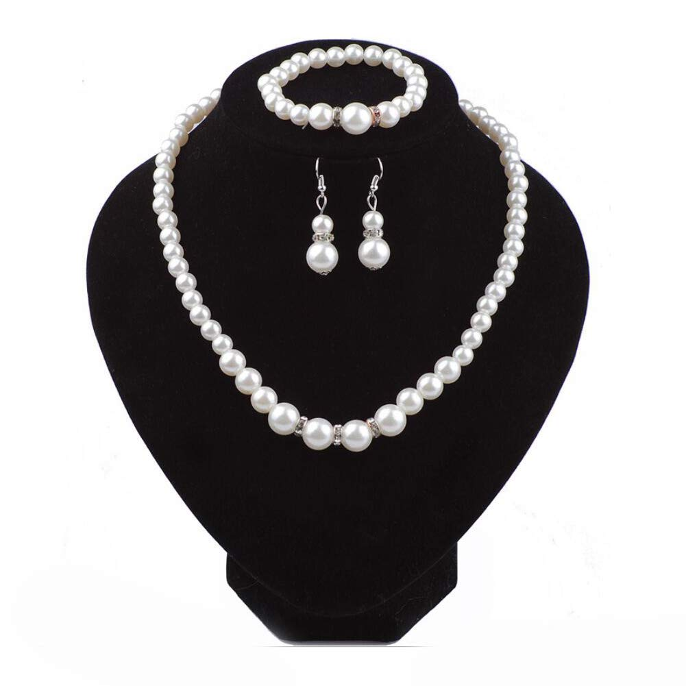 COLORFUL BLING Imitation Pearl Necklace Bracelet Earring Sets Crystal Dangle Pearl Jewelry Sets Women
