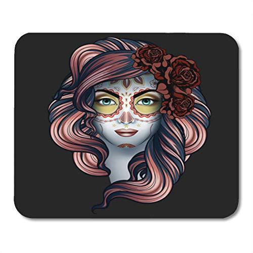 Semtomn Gaming Mouse Pad Black Woman Calavera Makeup Dia De Los Muertos Bride 9.5