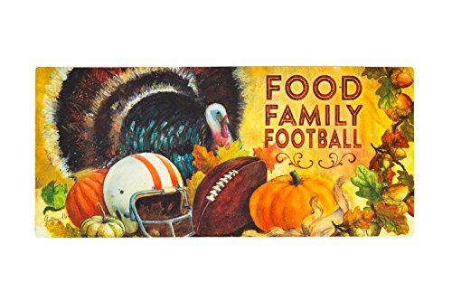 Seasonal, Easy to Clean, Evergreen Thanksgiving Family Football Holiday Sassafras Mats