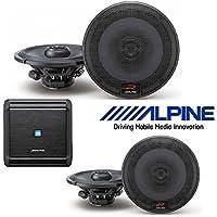 Alpine MRV-F300 4-Channel Car Amplifier, 50 Watts RMS x 4 W Alpine R-Series 6.5 Inch 300 Watt Coaxial 2-Way Car Audio Speakers, 2 Pair | R-S65