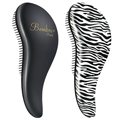 BOMBEX Detangler Brush - No Tangles & Knots, Best Detangling Brush for Tangled Hair,Set of 2, Zebra & Matte Black