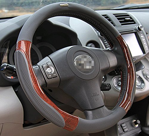 Moyishi Top Leather Steering Wheel Cover Universal Fit Soft Breathable Steering Wheel Wrap (Gray Wood)