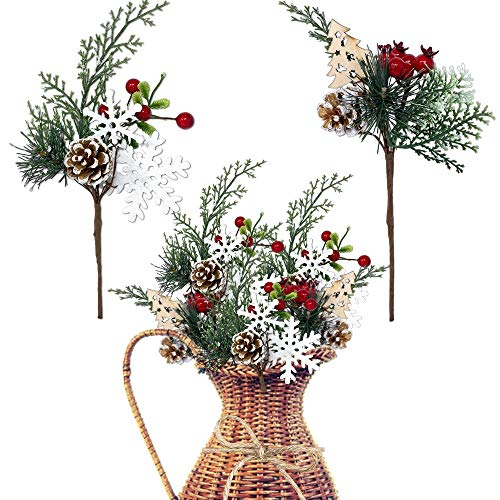 Woodsy Floral Picks Set of 10 -Snow Tip Pinecone Red Berries Sprays Wooden Embellishments- DIY for Christmas Garlands Wreaths Flower Arrangements Rustic Home Décor