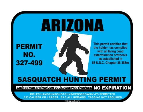 JS Artworks Arizona Sasquatch Hunting Permit License Bigfoot Vinyl Sticker Decal