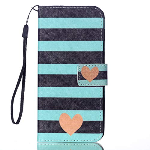 (Galaxy S10 Plus - Case, for [S10+], MerKuyom [Wrist Strap] [Kickstand] Premium PU Leather Wallet Pouch Flap Flip Cover Case + Stylus for Samsung Galaxy S10 Plus 6.4-inch (Green White Lines Heart))